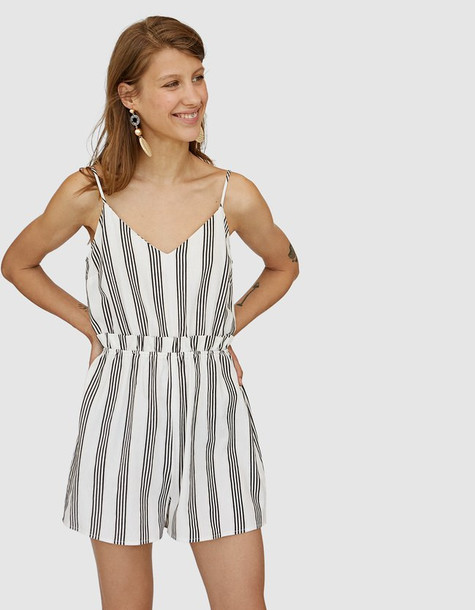 Stradivarius Strappy Playsuit With Stripes In Stone