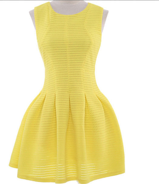 dress yellow skater dress