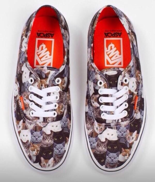 shoes vans cat print cat vans aspca vans