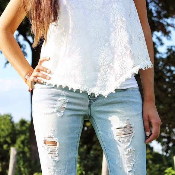 tank top white top white top white tank top floral tank top flowers torn jeans jeans denim destroyed jeans