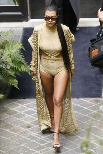 Cardigan Romper Shorts Sandals Kourtney Kardashian Kardashians Paris Fashion Week 2016
