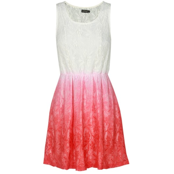 White and Coral Ombre Lace Dress - Polyvore