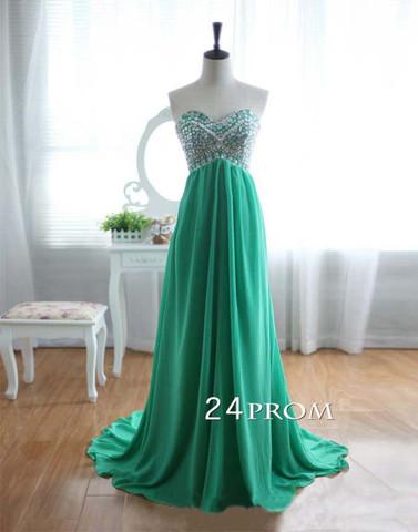 Green Chiffon Rhinestone Strapless Train Prom Dresses, Graduation Dress, Formal Dress - 24prom