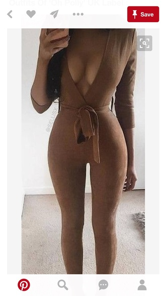 jumpsuit brown tan plunge v neck plunge neckline party outfits sexy sexy outfit summer outfits spring outfits fall outfits classy date outfit cute girly summer holidays clubwear romantic wedding clothes wedding guest dope