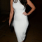 High neck midi bandage dress white