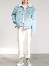 jacket,shearling jacket,denim jacket,sneakers,shearling denim jacket