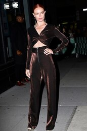 top,crop tops,pants,kate bosworth,celebrity,metallic