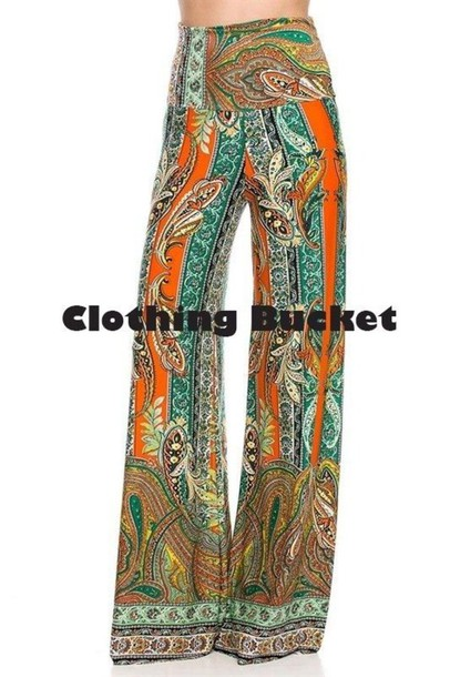 casual casual pants casual outfit paisley printed pants wide leg flare flared leg orange pants orange vintage vintage