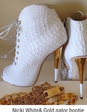 shoes,white,gold,booties,boots,high heels