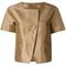 Herno - cropped collarless jacket - women - polyester/acetate - 44, brown, polyester/acetate