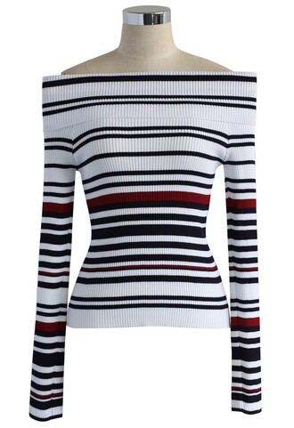 top whimsy stripes off-shoulder knit top in white chicwish knitted top white