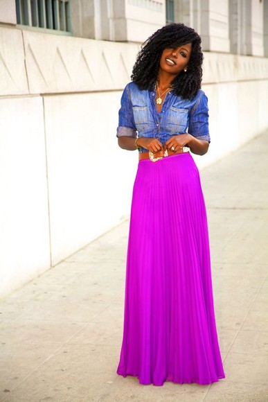 skirt neon magenta maxi skirt purple skirt plaid skirt summer skirt summer look summer neon