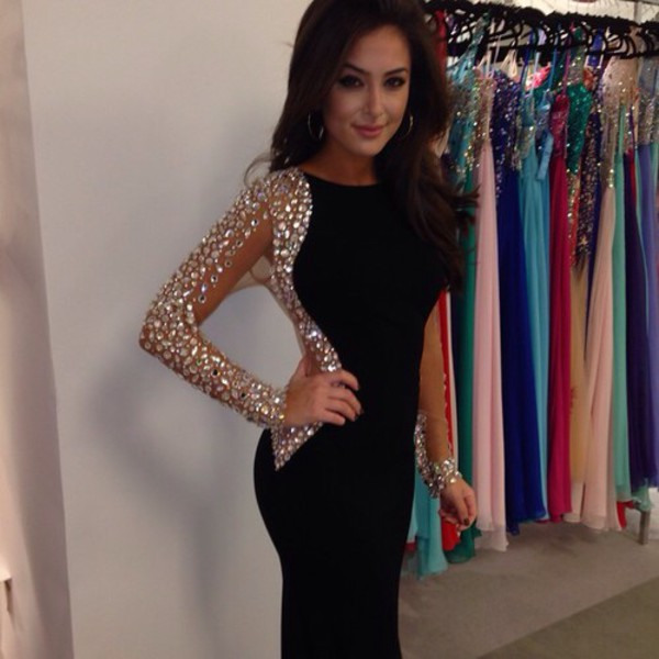 black diamonds prom dress dress black crystals long sleeve