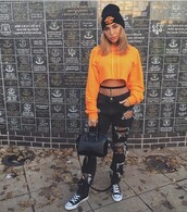 sweater,orange,jeans,black,denim,hat,socks,celebrity,instagram,cropped sweater,beanie,knee high socks,celebrity style,converse,blondie,blonde hair