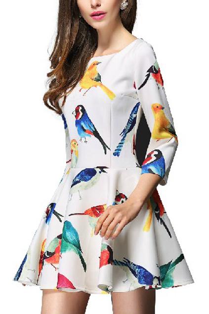 Bird print cropped white dress, the latest street fashion