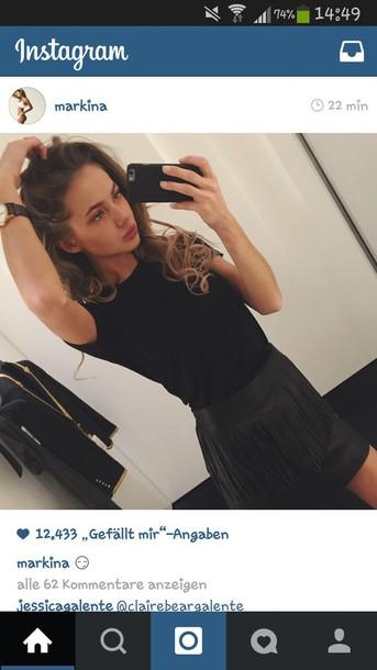 skirt black skirt leather skirt fashion