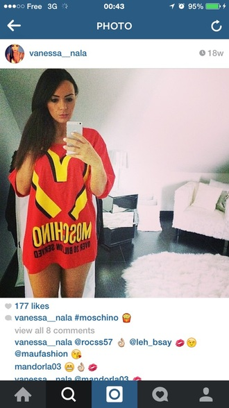 t-shirt moschino mcdonalds red designer