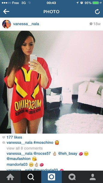 T-shirt: moschino, mcdonalds, red, designer - Wheretoget