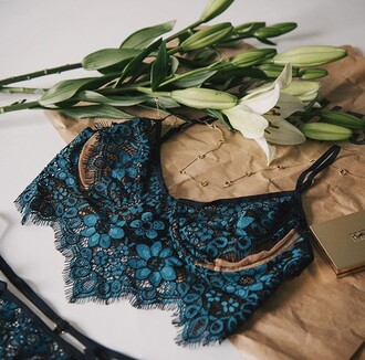underwear na-kd bra lace fashion style sexy turquoise black hot lingerie