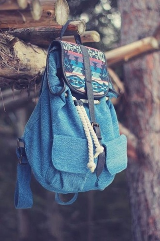 bag blue bag printed bag blue aztec backpack rucksack blie cute colorful print beach summer outfits native american colouri colour boho love it streetstyle colorful blue backpack school bag jeans vintage tribal pattern drawstring