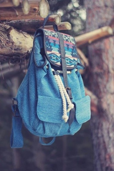 bag backpack colorful print jeans vintage blue bag printed bag blue aztec rucksack blie cute colourful summer outfits beach colour colouri native american boho love it streetstyle blue backpack school bag