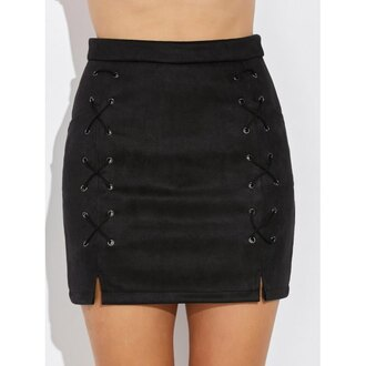 skirt fashion black trendy fall outfits lace up suede sexy trendsgal.com