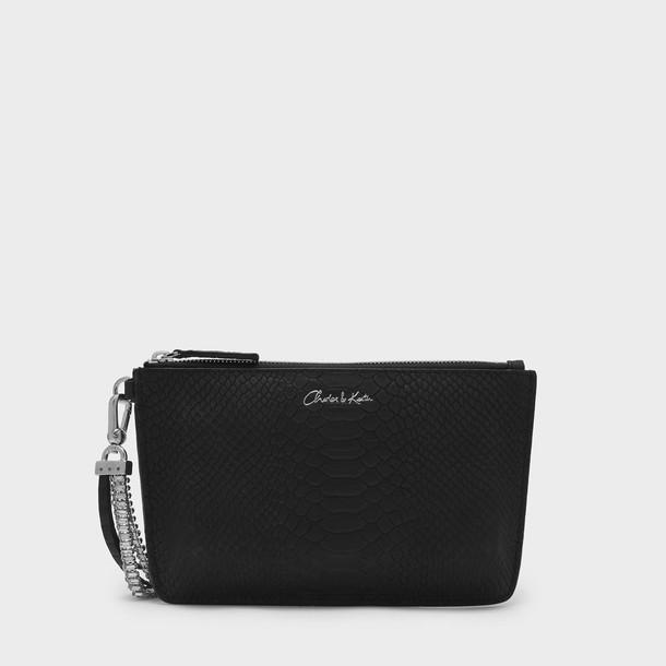 leather clutch zip clutch leather black bag