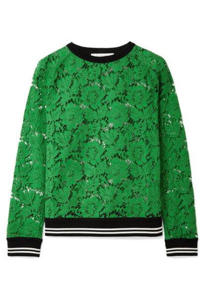 Valentino sweatshirt lace cotton green sweater