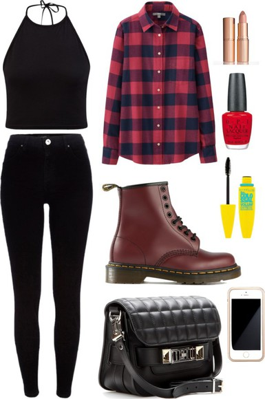 black bag hipster tartan casual top black top fall outfits blouse plaid blouse checked shirt black skinny jeans backless top make-up accessories i phone red nail polish mascara ankle boots wellies