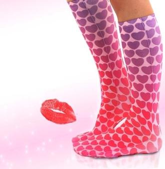 socks heart knee high socks valentines day gift idea