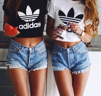 t-shirt adidas black and white tumblr shorts denim