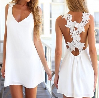 dress white dress summer dress flower back white summer girly pretty lace cute tan beach fashion style trendy hot rose wholesale-jan lace dress floral v neck classy elegant girl girly wishlist open back dresses short dress