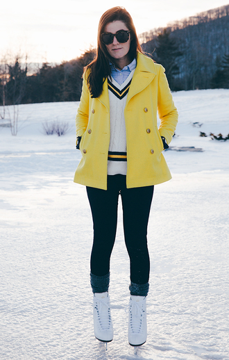classy girls with pearls blogger yellow coat v neck winter sports pea coat jacket sweater shirt pants socks