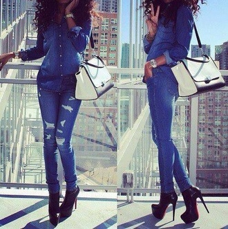 jeans denim shirt ripped jeans skinny jeans shirt denim bag watch jewels dope shitt india westbrooks curly hair cute