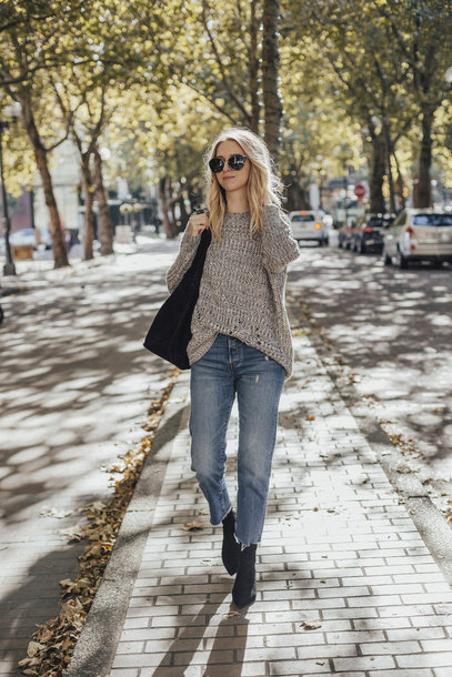 sweater tumblr grey sweater knit knitwear knitted sweater denim jeans blue jeans boots black boots ankle boots sunglasses