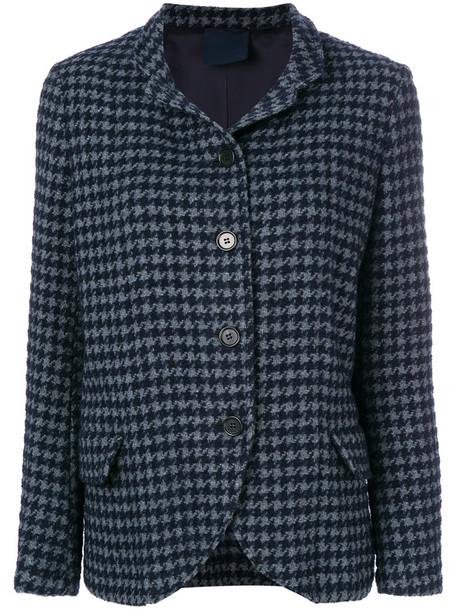 ASPESI jacket women blue wool houndstooth