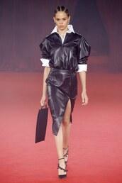 skirt,leather,leather skirt,midi skirt,slit skirt,runway,Paris Fashion Week 2017,off-white