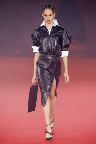 skirt leather leather skirt midi skirt slit skirt runway paris fashion week 2017 off-white