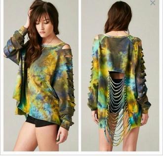 cut up sweater tye dye shirt tie dye shredded sweater multi colored crop tops sweater weather tie dye sweater