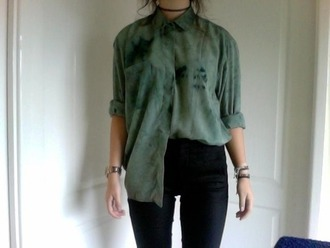 blouse green shirt washed-out green long sleeve shirt green blouse tumblr outfit grunge grunge shirt