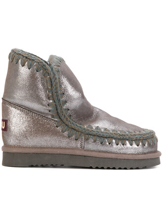 women boots grey metallic shoes