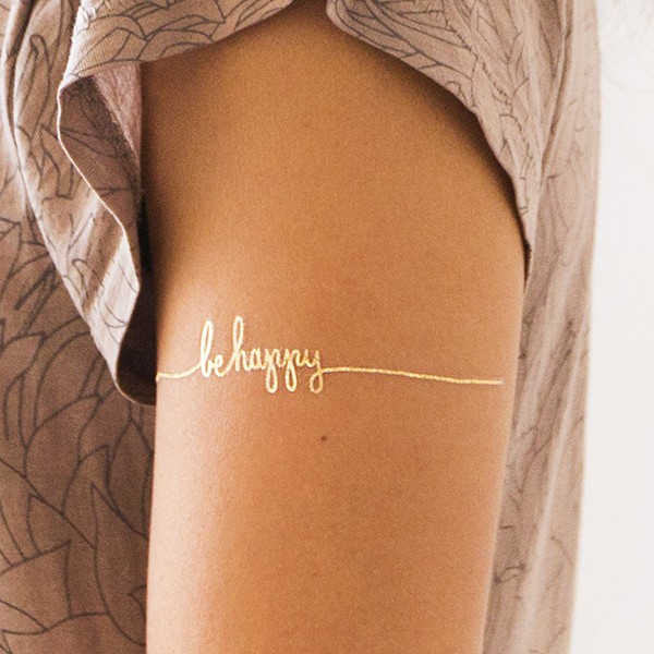 BE HAPPY LETTERS TEMPORARY TATTOOS(SET OF 2)