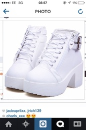 shoes,chunky ankle boots,white,ankle boots,lace up ankle boots