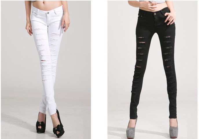 Hot Fashion Cotton Denim Ripped Punk Cut out Women Skinny pants Jeans Jeggings Trousers Black / White-in Jeans from Apparel & Accessories on Aliexpress.com