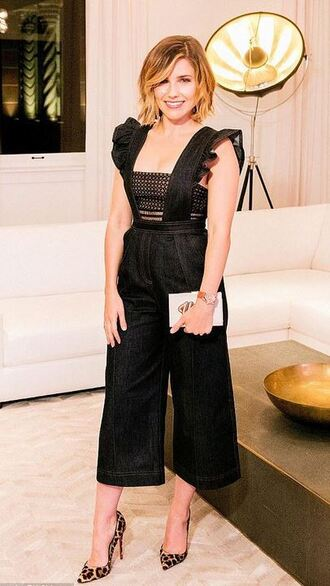 jumpsuit top pumps sophia bush pants black shoes