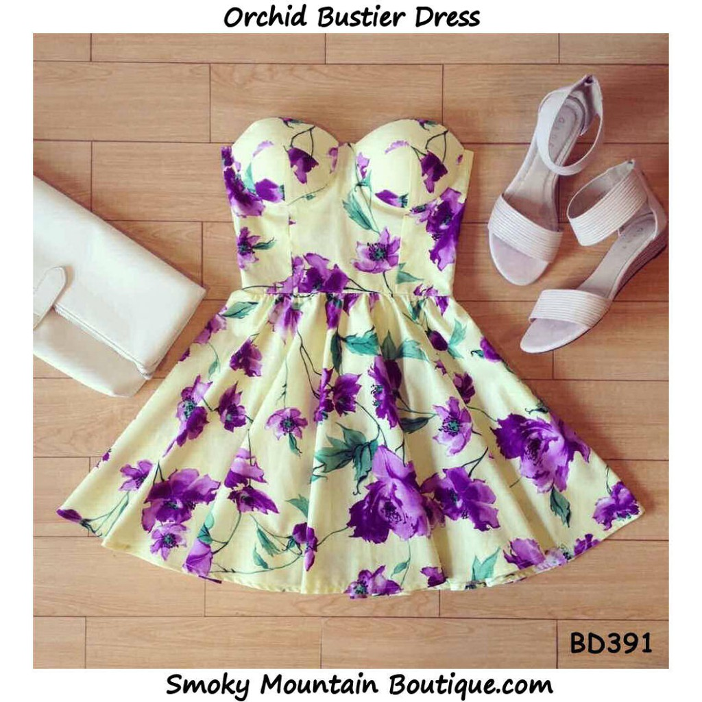 Orchid Retro Floral Bustier Dress with Adjustable Straps