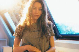 t-shirt sarah close sarah close loose whattefuck love summer grey