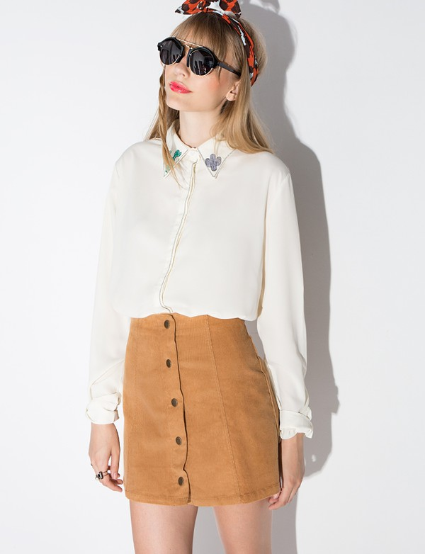 Brown Corduroy Button Mini Skirt - 70's skirt