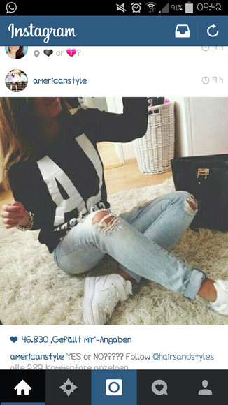black sweater jeans