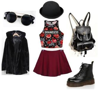 coat lookbook bag outfit style hat outfit idea outfit ideas backpack leather backpack dr.martens sunglasses